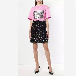 MSGM Paint-Splattered Fringe Wrap Skirt S